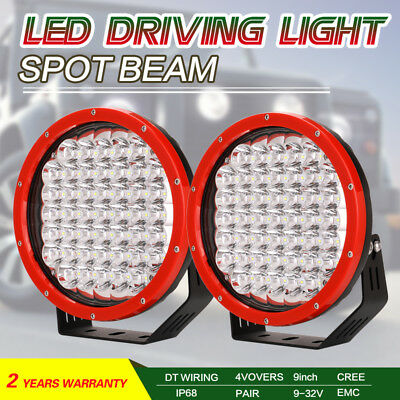 Pair 9inch 99999W Round LED SPOT Driving Lights Off Road 4x4 Spotlights Red HID