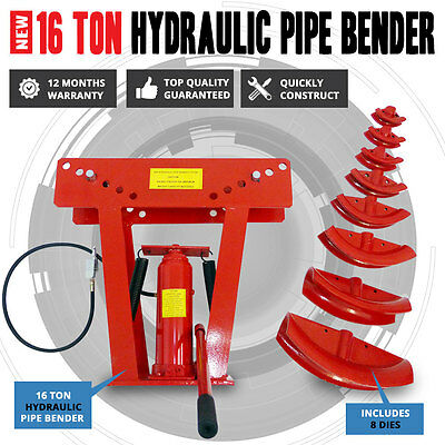 NEW 16 Ton Air & Hydraulic Operated Pipe Bender With 8 Dies Bending Jack Machine