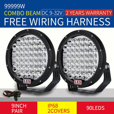 Pair 9 inch 99999W CREE LED Driving Lights Spot Round Black 4x4 OffRoad SUV