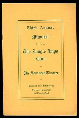 1912 MINSTREL Program- The JUNGLE IMPS CLUB - The SOUTHERN THEATRE - Columbus OH