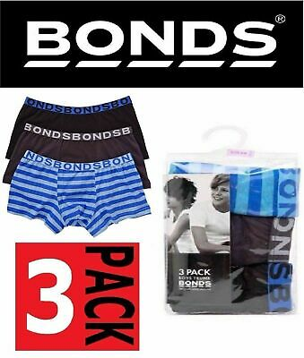 Boys BONDS Underwear 3 PACK TRUNKS Trunk Boyleg Blue Black Grey Shorts All Sizes