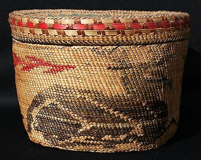 "Antique Early 20th Century Lg 9.5"" x 6.5"" Makah Nootka Lidded Basket Seated Elk"