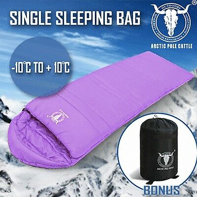Outdoor Camping Envelope Sleeping Bag Thermal Tent Hiking Winter Single -10°C Pu