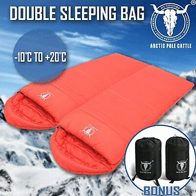 Double Camping Envelope Twin Sleeping Bag Thermal Tent Hiking Winter -10° C Red