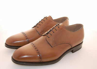 Man-8½Eu-9½Us-Derby Captoe-Calf Tan-Vitello Cuoio-Leather Sole