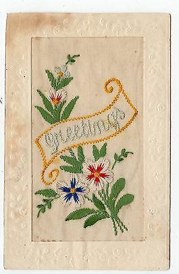 GREETINGS: Embroidered Silk postcard (JH1186)