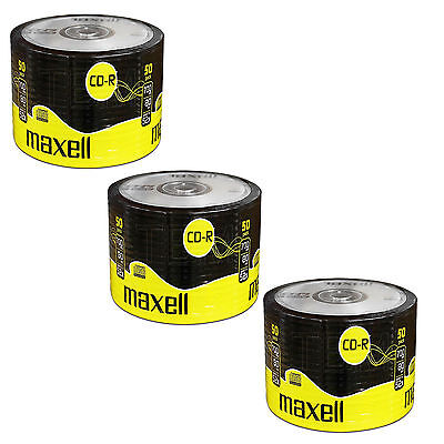 150 Maxell CD-R 80 Discs Recordable 700MB 80Min 3 x 50 Pack Shrink Wrap CDR80