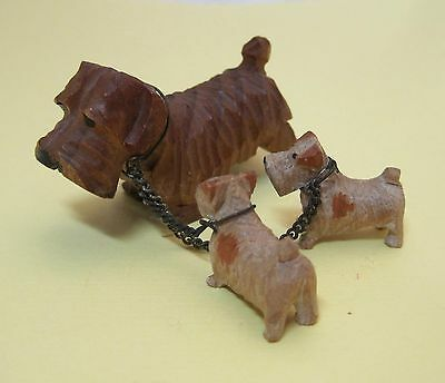 Vintage Hand Carved Terrier Dog Mother W 2 Babies Figurine So Cute 2 Inch T8