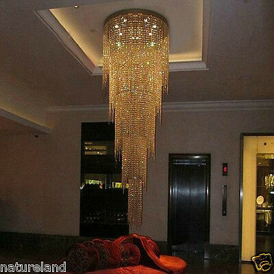 Crystal Ceiling LED hang light lamp Fixture Curtain Pendant Chandelier hall h8