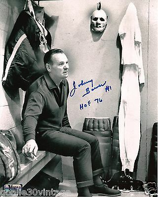 "Johnny Bower Sitting in Dressing Room W/ Vintage Gear Autographed 8""x10"" Photo"