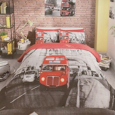 London Red Bus Design Duvet Cover Bedding Set With Pillow Cases