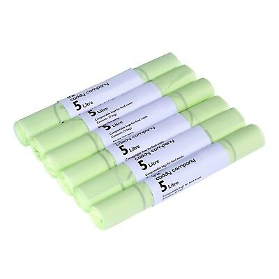 150x 5 Litre 5L Compostable Caddy Bags - 6 Rolls - EN13432 Caddy Liners