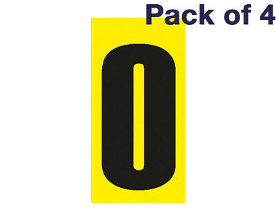 Black Number 0 on a Yellow Background x 4 MSA Legal UK KART STORE