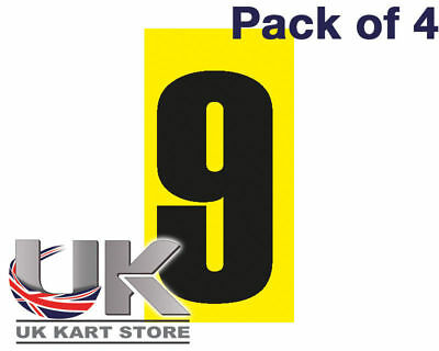 Black Number 9 on a Yellow Background x 4 MSA Legal UK KART STORE
