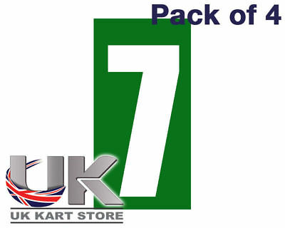 White Number 7 on a Green Background x 4 MSA Legal UK KART STORE