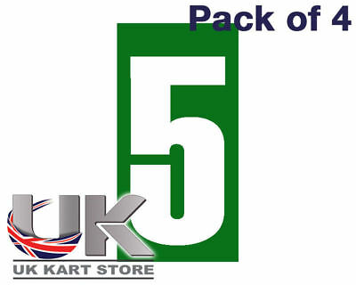 White Number 5 on a Green Background x 4 MSA Legal UK KART STORE