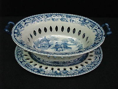 1825 Davenport Stone China Chinoiserie Pattern Reticulated Basket & Underplate