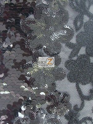 WAVY FLORAL CHEONGSAM GUIPURE SEQUINS FABRIC - Black/Black - BY THE YARD DRESS