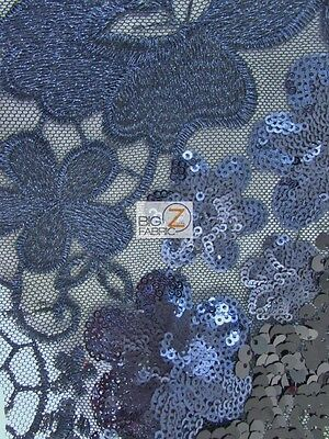 WAVY FLORAL CHEONGSAM GUIPURE SEQUINS FABRIC - Black/Navy - BY THE YARD DRESS