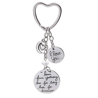 """New """"I Love you"""" Charm Silver Moon Heart Beads Keychain Purse Bag Key Ring Gift"""