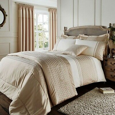 Luxury Lille Gold Cream Duvet Cover Bedding Set By Catherine Lansfield & Optinal