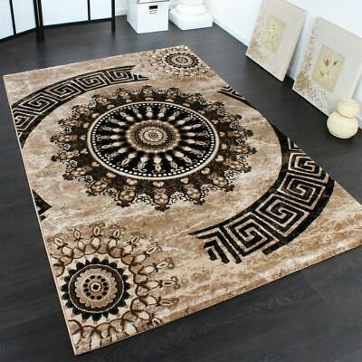 Large Designer Carpet Classic Brown Circle Ornaments Art Chic Living Room Rug