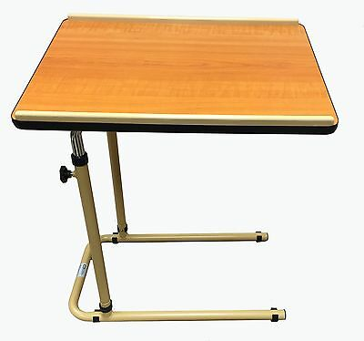 Height Adjustable Overbed Table Or Over Chair With Tilting Wood Effect Top Z-Tec