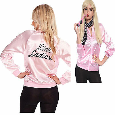 Valentine's  Pink Lady Jacket  Retro Grease Women Costume Hen Team Uniform Dress