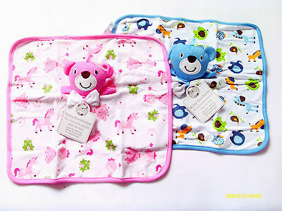 Baby Boy/Girl Teddy Comfort Blankets 34 X 32 Cm With Colouful Pictures