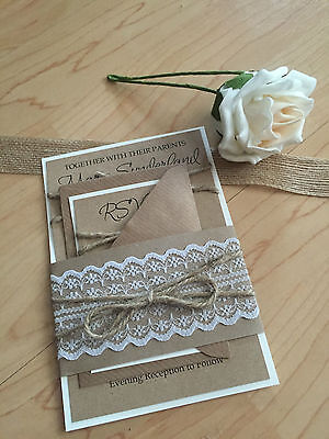 Personalised Rustic/Retro/Vintage Lace wedding invitation with RSVP Info Card