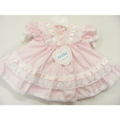 Gorgeous Baby Girl's Pink Frilly Romany Dress/Short Sleeve/Diamante Bow/1 M-12 M