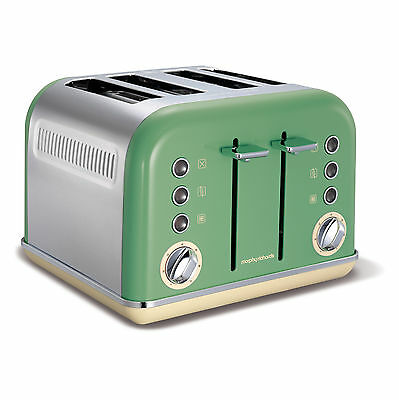 Morphy Richards 242006 Accents Stainless Steel  4 Slice Toaster Sage Green - NEW