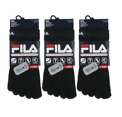 FILA 3 PAIRS no-show SKELE TOE SOCKS HIGH PERFORMANCE UNISEX S/M OR M/L BLACK