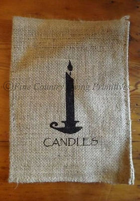 Primitive Colonial Country Burlap Bag Sack ~ Candles