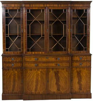 Vintage Antique Style English Mahogany Breakfront Bookcase China Cabinet w Desk