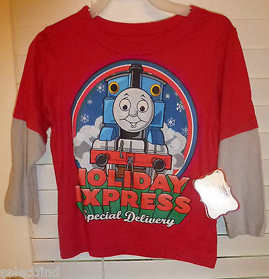 Toddler Boys Christmas Thomas Holiday Express T Shirt~New~Sz 24 Mo Long Sleeve