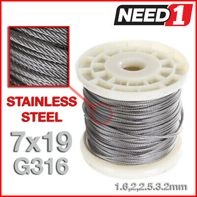 JMV Stainless Steel Grade 316  Wire Rope Cable 7x19 1.6,2,2.5,3.2mm 100M REEL