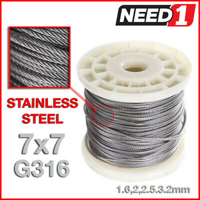 JMV Stainless Steel Grade 316  Wire Rope Cable 7x7  1.6,2,2.5,3.2mm 100M REEL