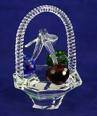 Crystal Basket with Cherries Ornament 8121