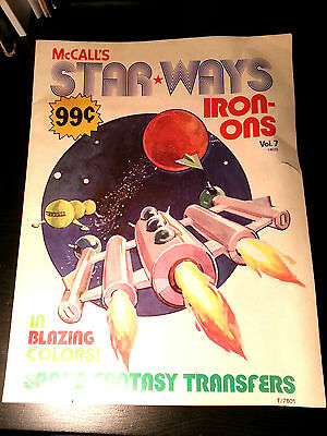 Vintage McCall's Star Ways Iron-On Transfers Space Cosmic 1978 T-shirt transfer