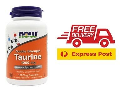 Now Foods Taurine 100 Capsules 1000mg Double Strength Amino Acid Supplement