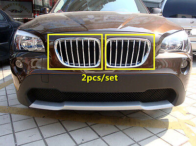 For BMW X1 E84 2009 - 2015 Chromed ABS Front Center Grille Grill Frame Trim 2pcs