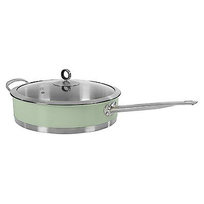 Morphy Richards 973032 Accents 28cm Saute Pan with Glass Lid in Sage Green - NEW