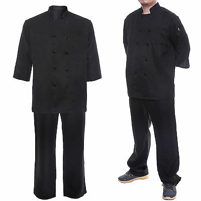 Chef Uniform Pants Plain Elasticated Unisex Pockets Workwear Drawstring Black AU