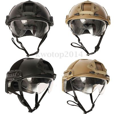 Black / Brown Tactical Airsoft Paintball SWAT Protective Fast Helmet With Goggle