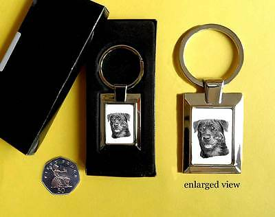 Rottweiler Dog Rectangular Chrome Plated Keyring Boxed Gift Key Fob