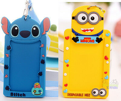 Free Shipping 2pcs Stitch&Despicable Me ID Badge Lanyard Card Holder Neck Strap