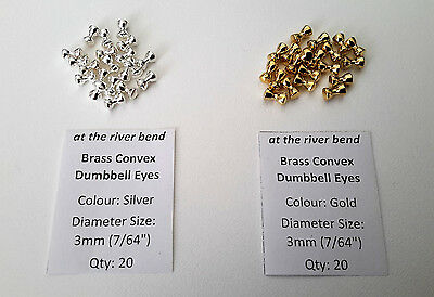 "3mm (7/64"") Fly Tying Convex Dumbbell Eyes in gold or silver (pack of 20)"