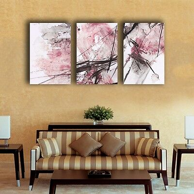 Set Of 3 Abstract Pink Stretched Canvas Prints Framed Wall Art Decor Painting