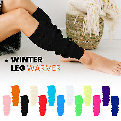 New Women Plain Bright Neon Leg Warmers 80s Party Fancy Dress Winter